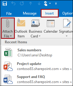 With Outlook 2016 you can easily attach documents you most recently worked on to your emails